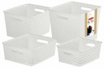 Rattan Effect Storage Baskets - Set of 4